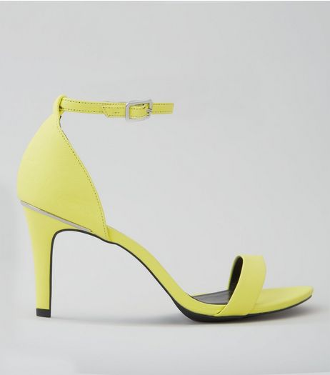 Wide Fit Neon Yellow Textured Heeled Sandals | New Look