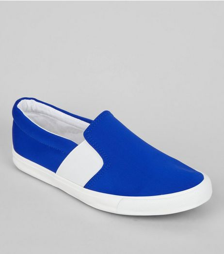 Wide Fit Blue Contrast Elasticated Side Plimsolls | New Look