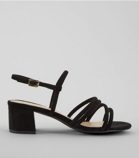 Wide Fit Black Strappy Heeled Sandals | New Look
