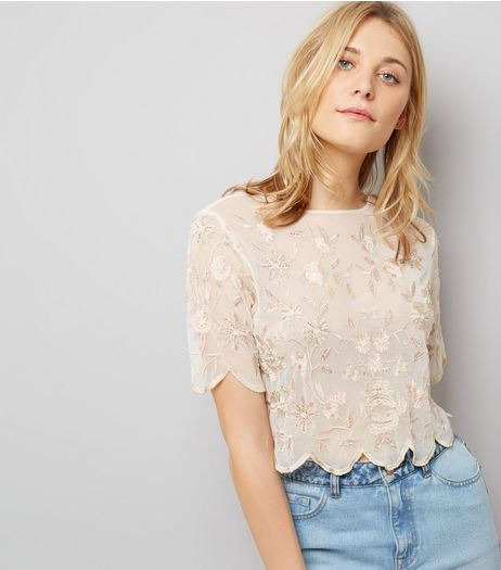 White Floral Embroidered Scallop Hem Top | New Look