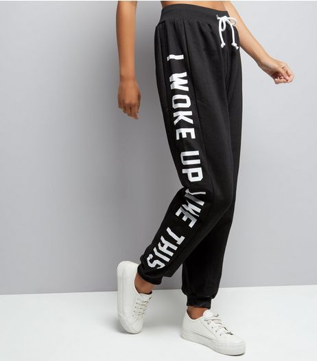 Parisian Black I Woke Up Like This Print Joggers  | New Look