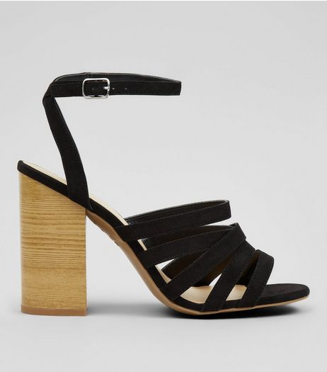 Black Multi Strap Wooden Block Heeled Sandals | New Look