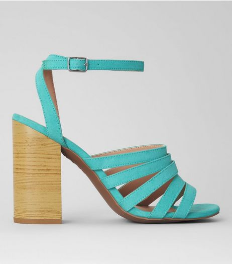 Mint Green Suedette Multi Strap Wooden Heeled Sandals | New Look
