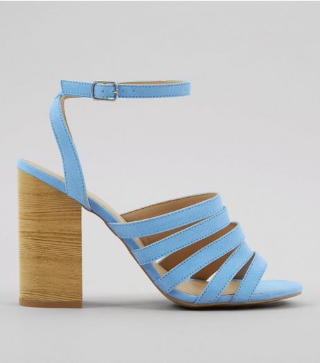 Blue Multi Strap Wooden Block Heeled Sandals | New Look