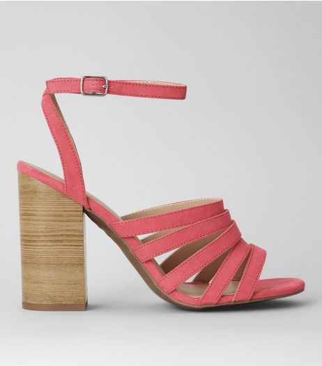 Pink Suedette Multi Strap Wooden Heeled Sandals | New Look