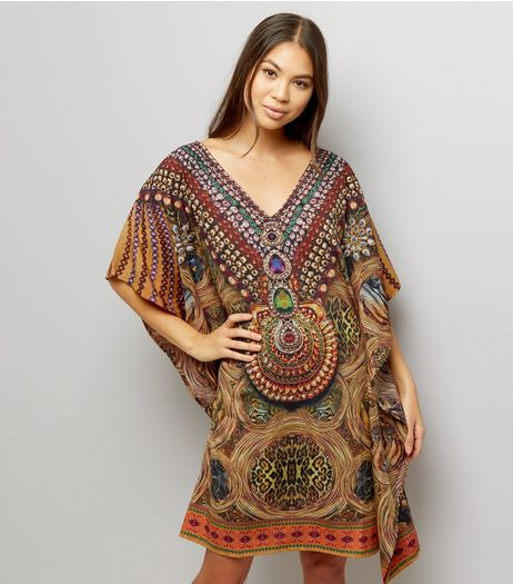 Mela Brown Abstract Print Kaftan  | New Look