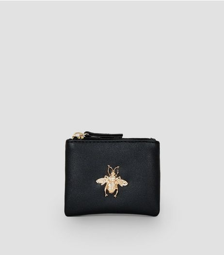 Black Metal Bee Charm Zip Top Purse | New Look