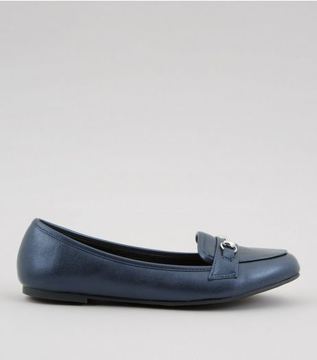 Navy Metallic Trim Loafers  | New Look
