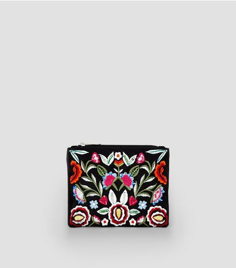 Black Floral Embroidered Zip Top Purse | New Look