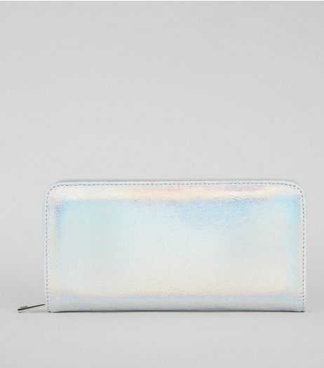 Blue Iridescent Zip Around Purse  | New Look