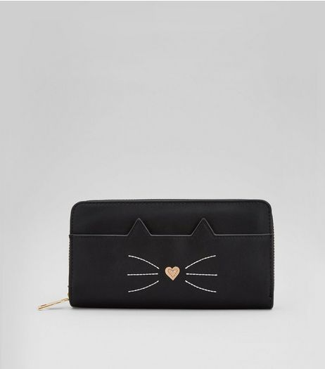 Black Cat Zip Around Purse  | New Look