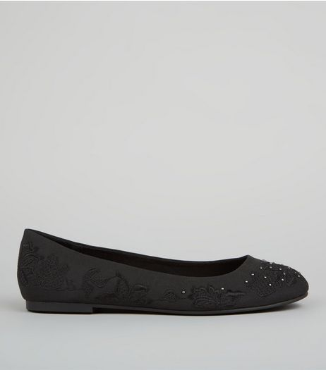 Black Floral Embroidered Ballerina Pumps | New Look