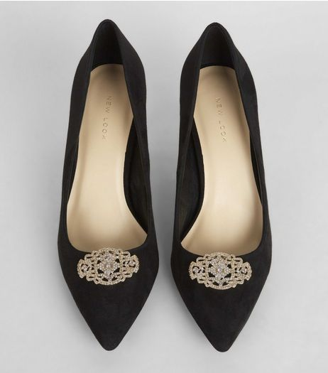 Gold Crystal Detail Filigree Shoe Clips | New Look