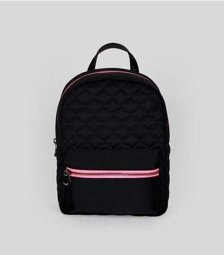 Black Quilted Neon Zip Backpack | New Look