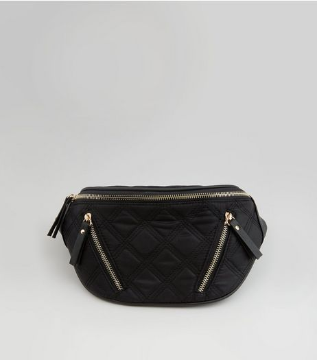 Black Quilted Bumbag | New Look