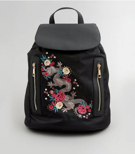 Black Dragon Embroidered Backpack | New Look