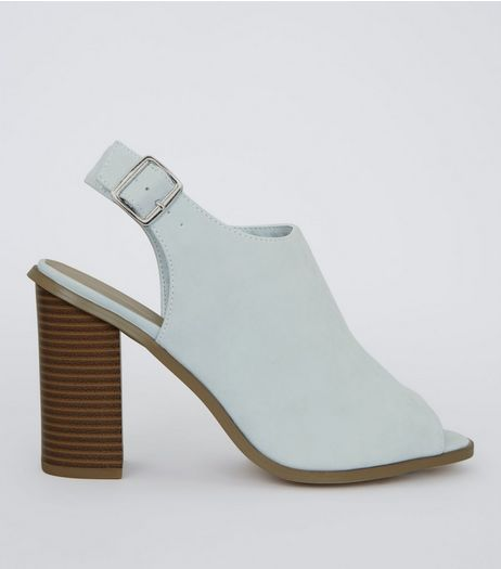 Wide Fit Pale Blue Suedette Peep Toe Heels | New Look