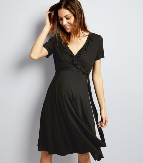 Maternity Black Frill Trim Wrap Dress | New Look