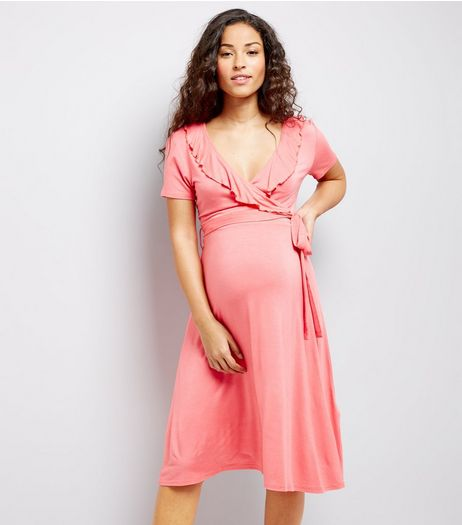 Maternity Pink Frill Trim Wrap Dress | New Look