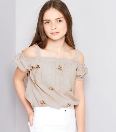 Teens Pink Embroidered Cold Shoulder Top  | New Look