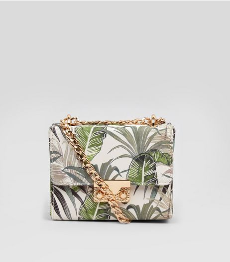 Green Palm Print Mini Box Bag | New Look