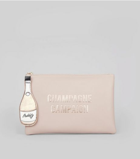 Pink Champage Campaign Zip Top Pouch | New Look
