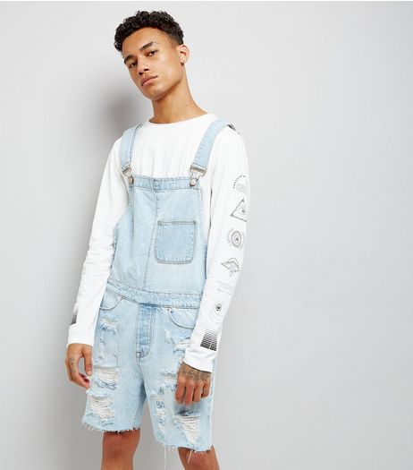 Pale Blue Ripped Dungarees | New Look