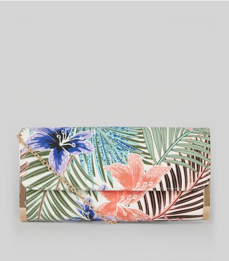 Cream Palm Leaf Print Metal Side Clutch | New Look
