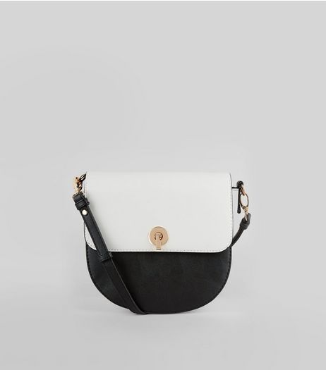 Black Colour Block Saddle Bag | New Look