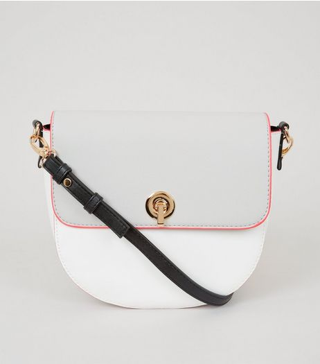 White Neon Trim Saddle Bag | New Look