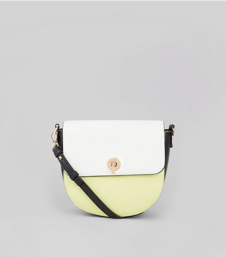 Green Colour Block Saddle Bag  | New Look