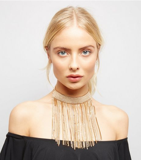 Gold Chain Cascade Drop Choker | New Look