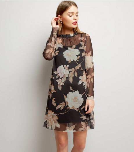 Blue Vanilla Black Frill Trim Neck Floral Print Dress | New Look