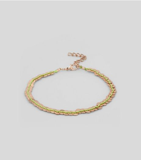 Gold Metal Sequin Thread Anklet | New Look