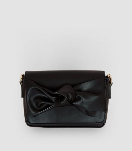 Black Bow Front Clutch Bag | New Look