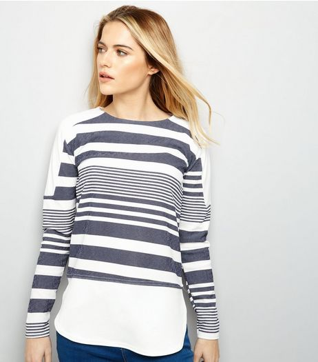 Blue Vanilla Navy Stripe Long Sleeve Top  | New Look