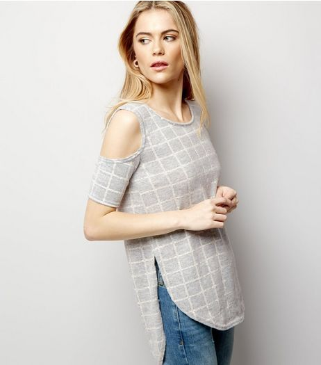 Blue Vanilla Grey Check Print Cold Shoulder Top | New Look