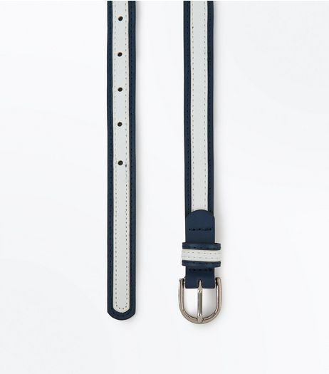 Black Contrast Stripe Trim Skinny Belt | New Look