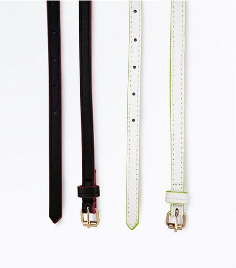 2 Pack Black and White Neon Trim Belts | New Look