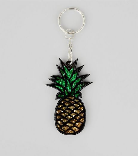 Pineapple Glitter Keyring | New Look