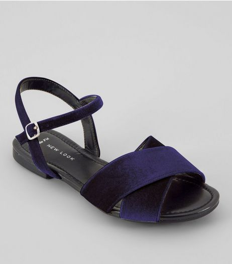 Wide Fit Navy Velvet Cross Strap Front Sandals | New Look