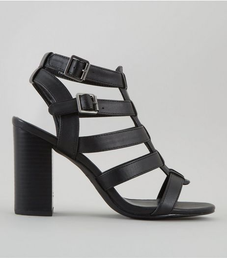 Wide Fit Black Gladiator Block Heels | New Look