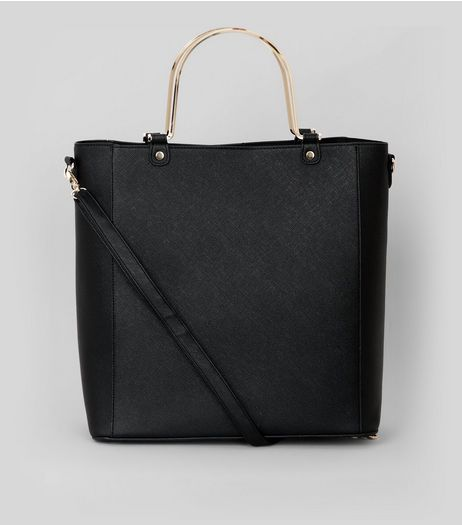 Black Metal Handle Shopper Bag | New Look