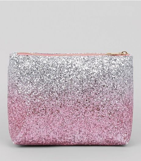 Multicoloured Ombre Glitter Make Up Bag | New Look