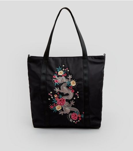 Black Dragon Embroidered Tote Bag | New Look