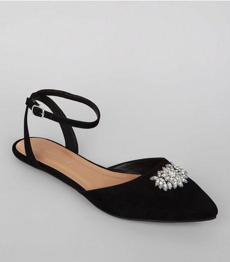 Wide Fit Black Suedette Gem Brooch Pointed Pumps | New Look