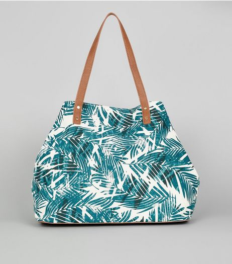 White Tropical Leaf Print Shopper Bag  | New Look