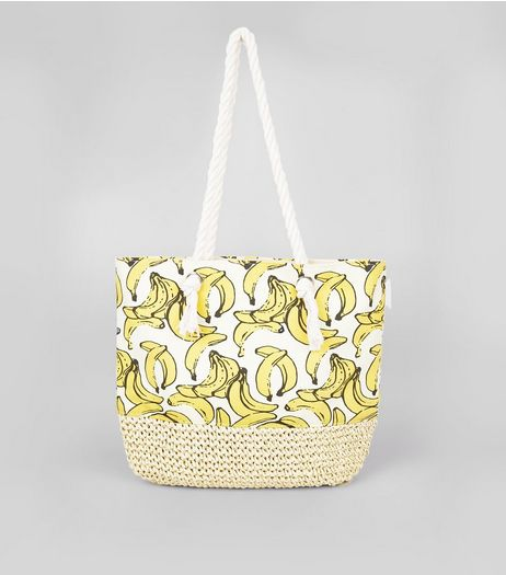 White Banana Print Shopper Bag | New Look