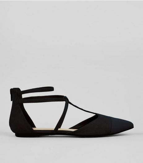 Wide Fit Black Suedette Strappy Sandals | New Look