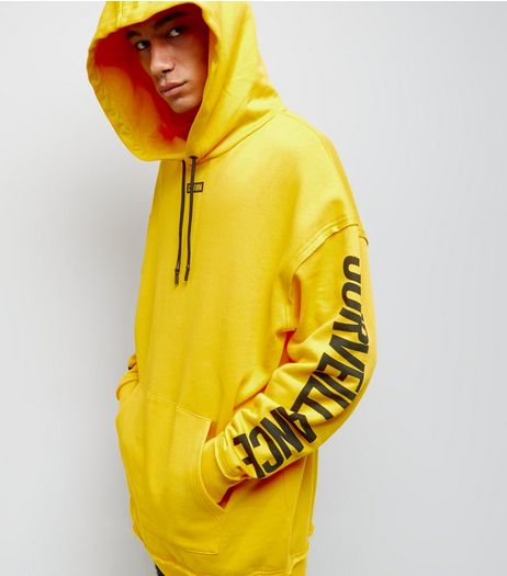 Yellow Surveillance Print Longline Hoodie | New Look